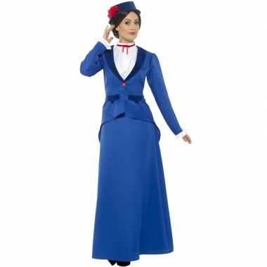 Blauw nanny carnavalspak dames
