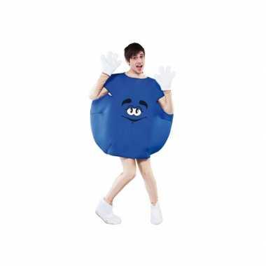Blauw snoep carnavalspak volwassenen