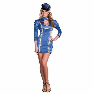 Blauw stewardess carnavalspak