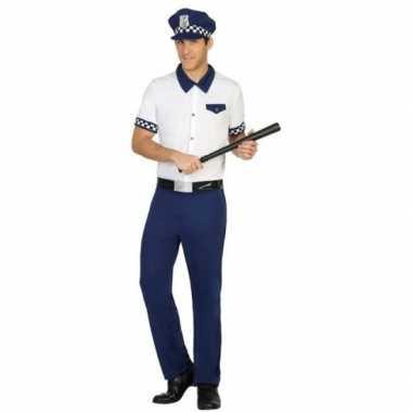 Blauw/wit politie carnavalspak heren
