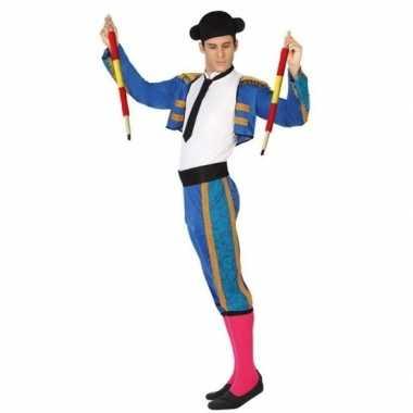 Blauwe spaanse matador/stierenvechter verkleedcarnavalspak volwassene