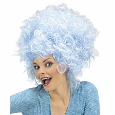 Blauwe suikerspin s pruik dames