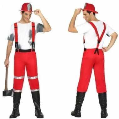 Brandweer carnavalspak bretels heren