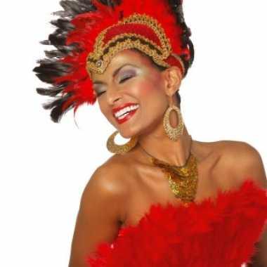 Braziliaanse carnavals hoofdtooi rood