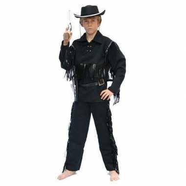 Carnaval cowboy pak zwart kinderen