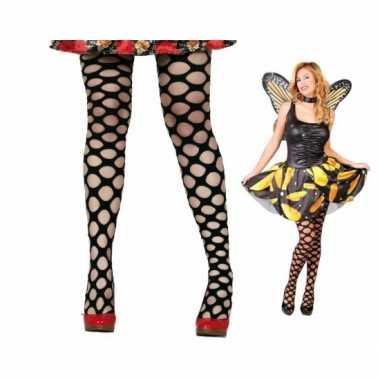 Carnaval netpanty zwart ronde gaten