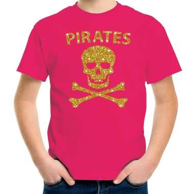 Carnaval piraten t shirt roze kids gouden glitter bedrukking