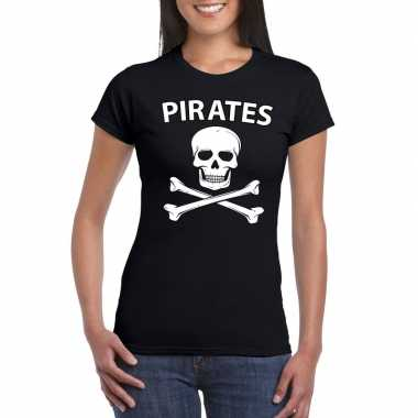Carnaval piraten t shirt zwart dames