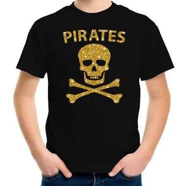 Carnaval piraten t shirt zwart kids gouden glitter bedrukking