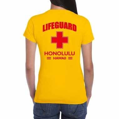 Carnaval reddingsbrigade/ lifeguard honolulu hawaii t shirt geel / achter bedrukking dames