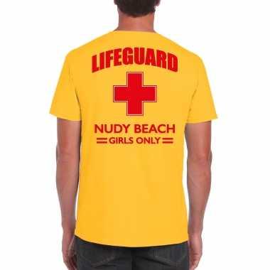 Carnaval reddingsbrigade/ lifeguard nudy beach girls only t shirt geel / achter bedrukking heren