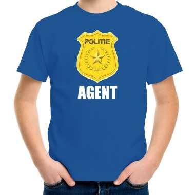 Carnaval shirt / carnavalspak politie embleem agent blauw kinderen