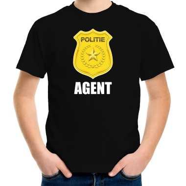 Carnaval shirt / carnavalspak politie embleem agent zwart kinderen