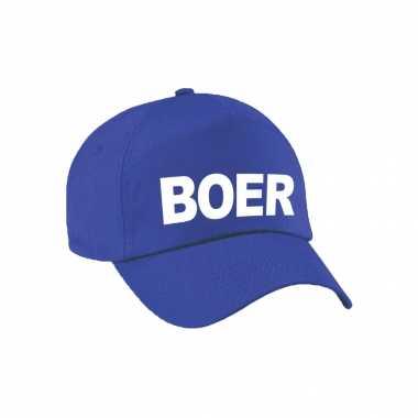 Carnaval verkleed pet / cap boer blauw heren