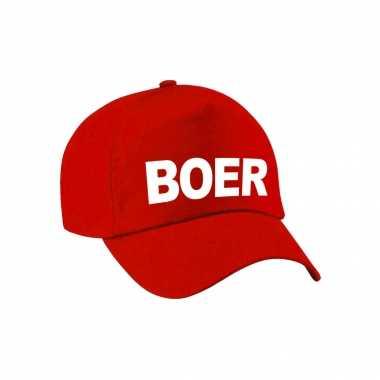 Carnaval verkleed pet / cap boer rood heren