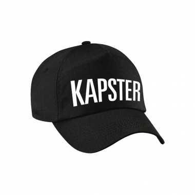 Carnaval verkleed pet / cap kapster zwart dames heren