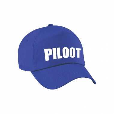 Carnaval verkleed pet / cap piloot blauw kids