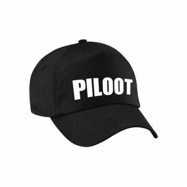 Carnaval verkleed pet / cap piloot zwart kids
