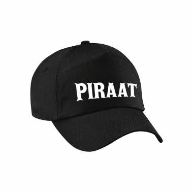 Carnaval verkleed pet / cap piraat / piraten zwart dames heren