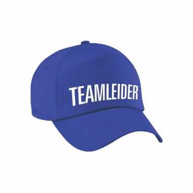 Carnaval verkleed pet / cap teamleider blauw dames heren