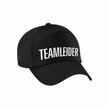 Carnaval verkleed pet / cap teamleider zwart dames heren