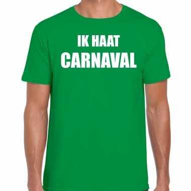 Carnaval verkleed shirt groen heren ik haat carnaval carnavalspak