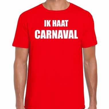 Carnaval verkleed shirt rood heren ik haat carnaval carnavalspak