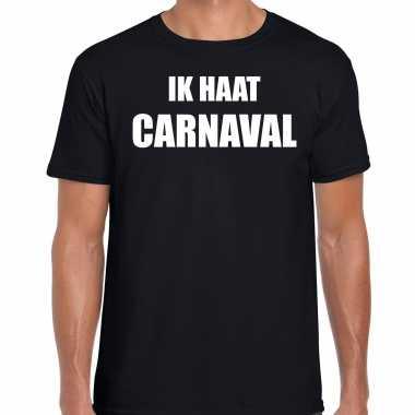 Carnaval verkleed shirt zwart heren ik haat carnaval carnavalspak