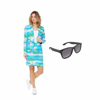 Carnavals pak flamingo dames (l) gratis zonnebril