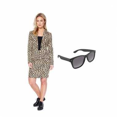Carnavals pak luipaard dames (s) gratis zonnebril