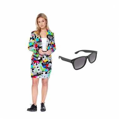 Carnavals pak testbeeld dames (m) gratis zonnebril