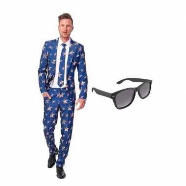 Carnavalspak amerikaanse vlag heren pak (m) gratis zonnebril