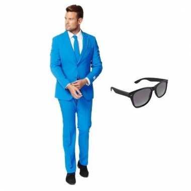 Carnavalspak blauw heren pak (l) gratis zonnebril