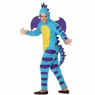 Carnavalspak blauwe draak volwassenen