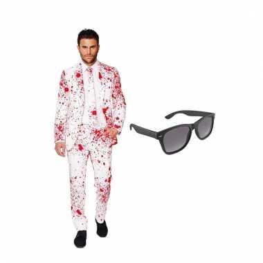 Carnavalspak bloedspatten heren pak (xxxxl) gratis zonnebril