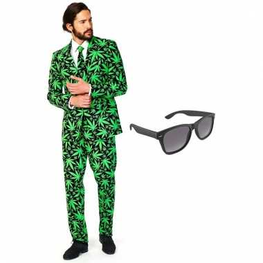 Carnavalspak cannabis heren pak (xxxl) gratis zonnebril