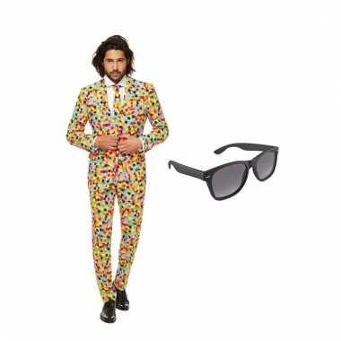 Carnavalspak confetti heren pak (xxxl) gratis zonnebril