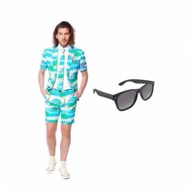 Carnavalspak flamingo zomer heren pak (xl) gratis zonnebril