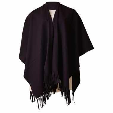 Carnavalspak fleece poncho zwart