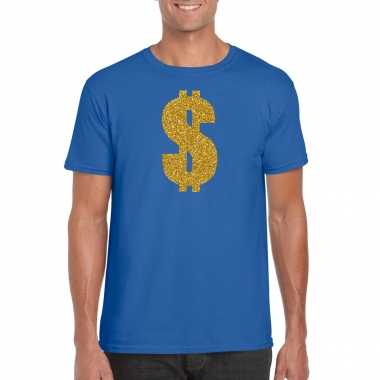 Carnavalspak gangster / gouden dollar t shirt blauw heren