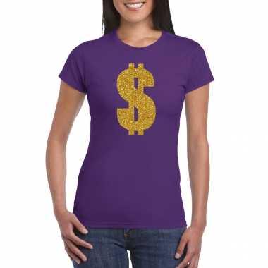 Carnavalspak gangster / gouden dollar t shirt paars dames