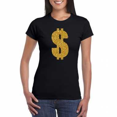 Carnavalspak gangster / gouden dollar t shirt zwart dames