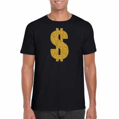 Carnavalspak gangster / gouden dollar t shirt zwart heren
