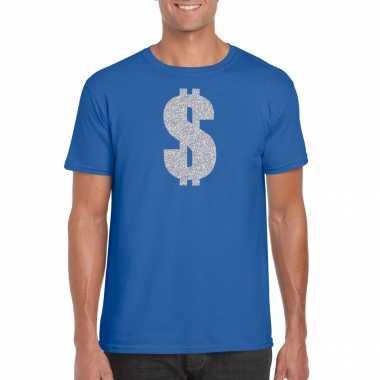 Carnavalspak gangster / zilveren dollar t shirt blauw heren