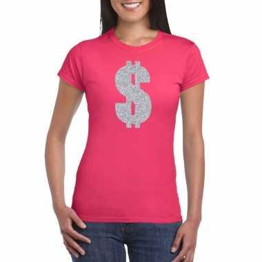 Carnavalspak gangster / zilveren dollar t shirt roze dames