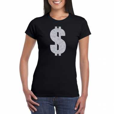 Carnavalspak gangster / zilveren dollar t shirt zwart dames