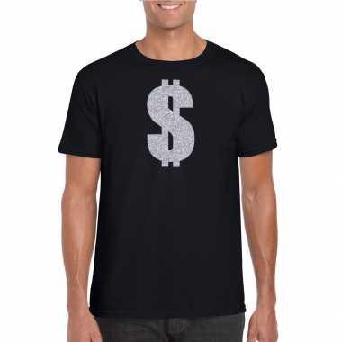 Carnavalspak gangster / zilveren dollar t shirt zwart heren