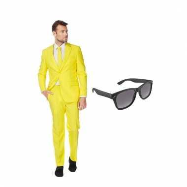 Carnavalspak geel heren pak (s) gratis zonnebril