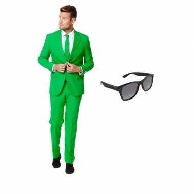 Carnavalspak groen heren pak (s) gratis zonnebril