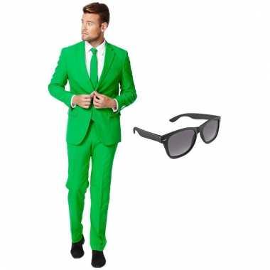 Carnavalspak groen heren pak (xxxl) gratis zonnebril